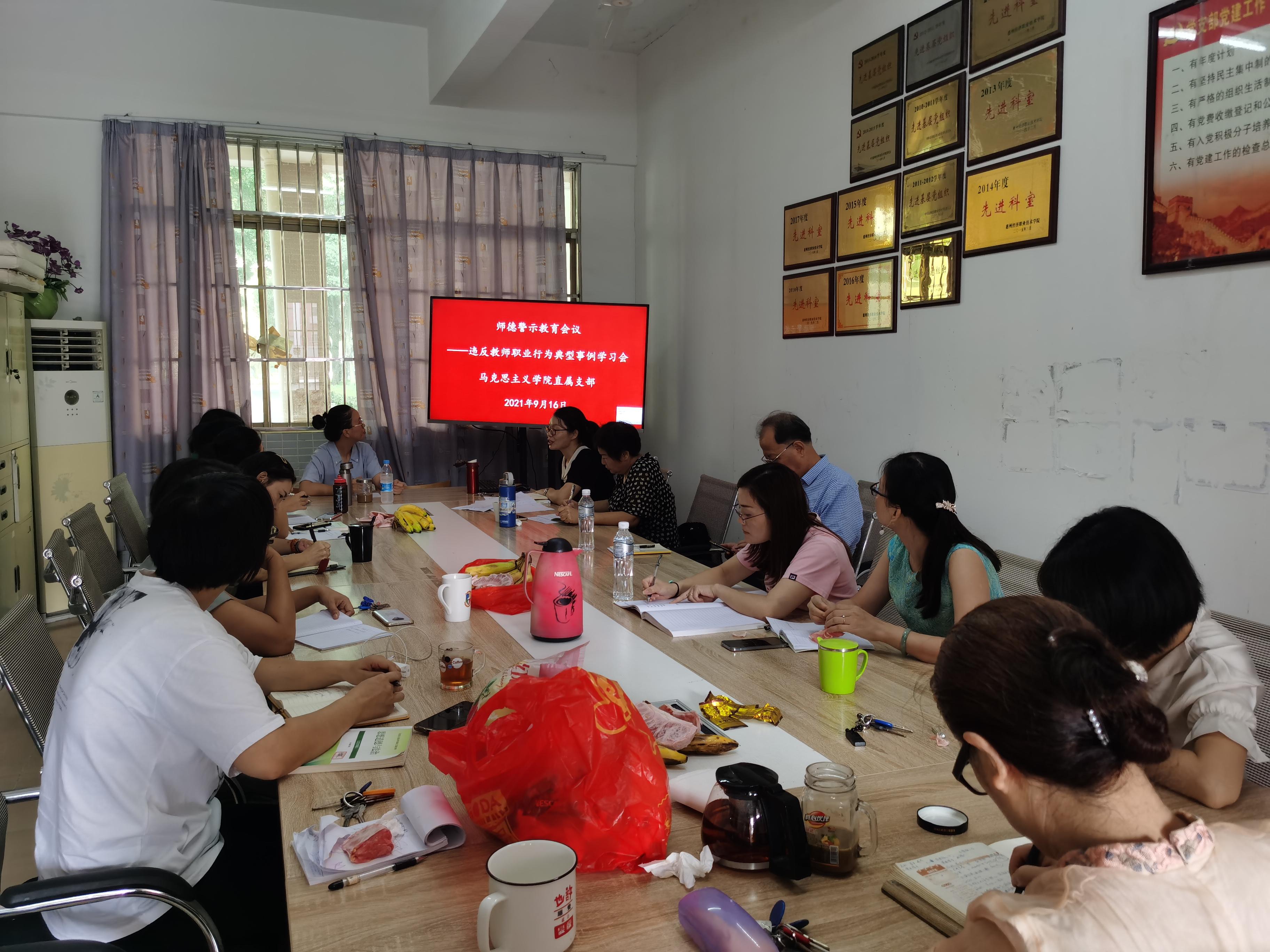 马克思主义学院直属党支部召开师德警示教育会议